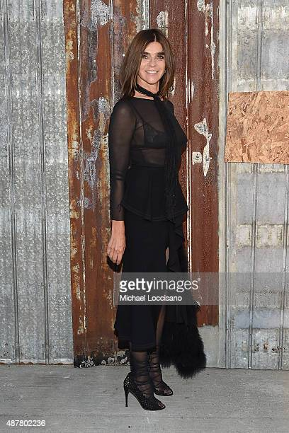 Carine Roitfeld attends the Givenchy fashion show during Spring 2016 New York Fashion Week at Pier 26 at Hudson River Park on September 11 2015 in...