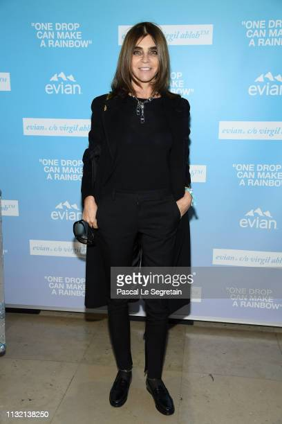 """Carine Roitfeld attends the launch of Evian and Virgil Abloh's limitededition """"One Drop can make a Rainbow"""" collection at Théâtre National de..."""