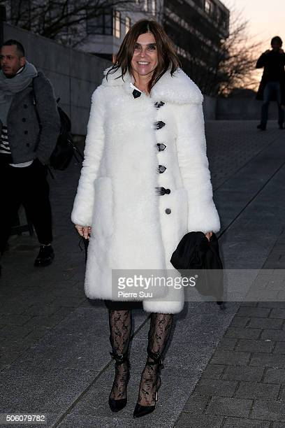 Carine Roitfeld attends the Louis Vuitton Menswear Fall/Winter 20162017 show as part of Paris Fashion Week on January 21 2016 in Paris France