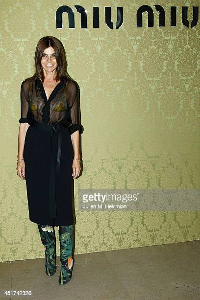 Carine Roitfeld attends the Miu Miu Resort Collection 2015 at Palais d'Iena on July 5 2014 in Paris France