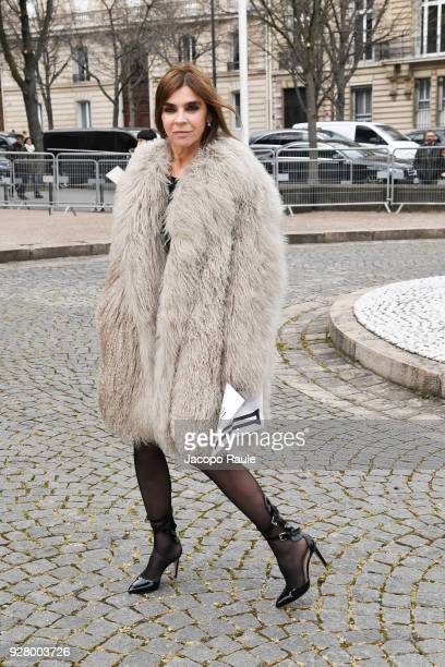 Carine Roitfeld attends the Miu Miu show as part of the Paris Fashion Week Womenswear Fall/Winter 2018/2019 on March 6 2018 in Paris France