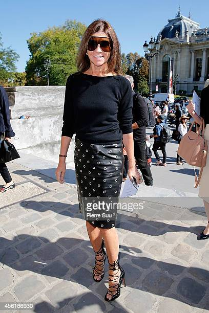 Carine Roitfeld attends the Mugler show as part of the Paris Fashion Week Womenswear Spring/Summer 2015 on September 27 2014 in Paris France