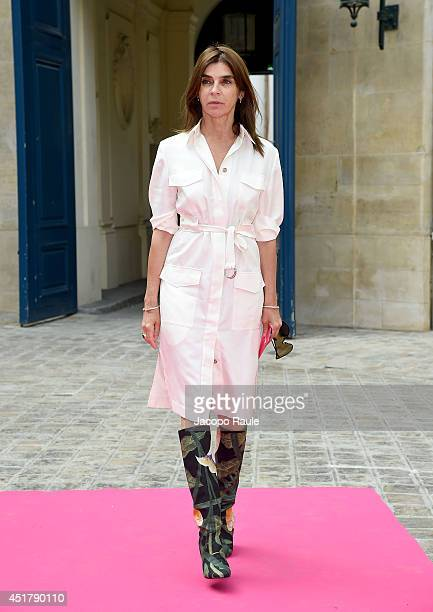 Carine Roitfeld attends the Schiaparelli show as part of Paris Fashion Week Haute Couture Fall/Winter 20142015 on July 7 2014 in Paris France