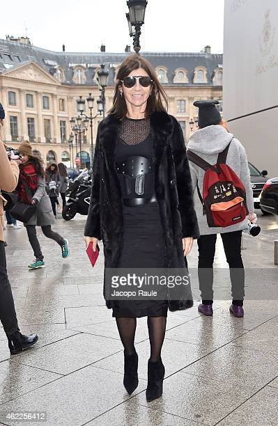 Carine Roitfeld attends the Schiaparelli show as part of Paris Fashion Week Haute Couture Spring/Summer 2015 on January 26 2015 in Paris France