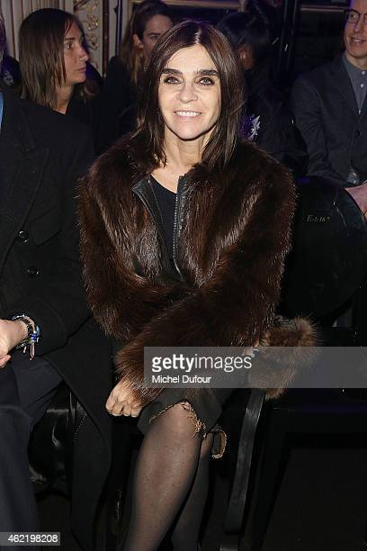 Carine Roitfeld attends the Versace show as part of Paris Fashion Week Haute Couture Spring/Summer 2015 on January 25 2015 in Paris France