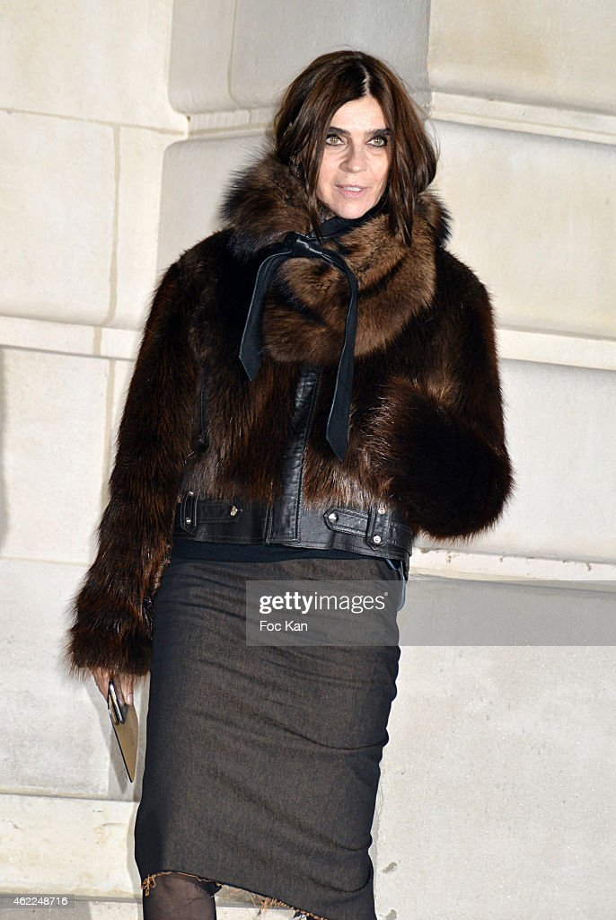 Carine Roitfeld attends the Versace show as part of Paris Fashion Week Haute Couture Spring/Summer 2015 on January 25, 2015 in Paris, France. .