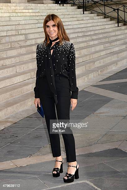 Carine Roitfeld attends the Versace show as part of Paris Fashion Week Haute Couture Fall/Winter 2015/2016 on July 5 2015 in Paris France