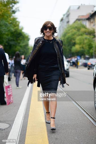 Carine Roitfeld is seen after the Fendi show on September 18 2014 in Milan Italy