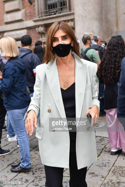 Carine Roitfeld is seen arriving at the Max Mara fashion show during the Milan Women's Fashion Week on September 24 2020 in Milan Italy
