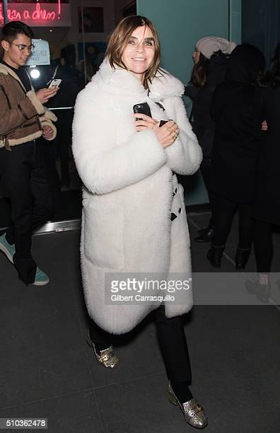 Carine Roitfeld is seen outside Diane Von Furstenberg Presentation Fall 2016 New York Fashion Week on February 14 2016 in New York City