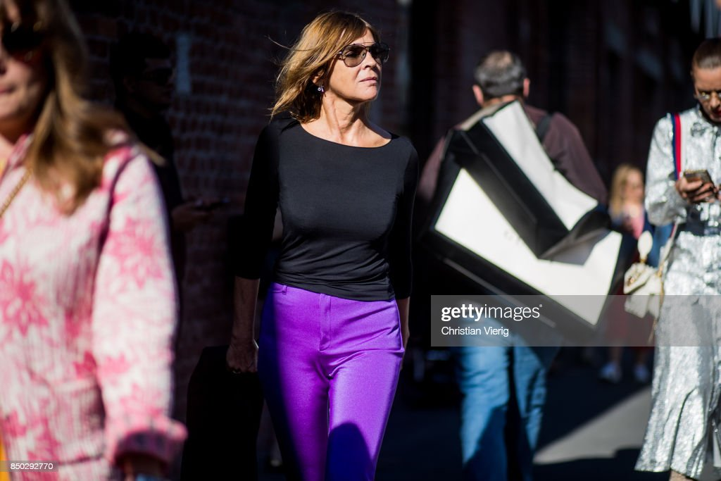 Carine Roitfeld is seen outside Gucci during Milan Fashion Week Spring/Summer 2018 on September 20, 2017 in Milan, Italy.