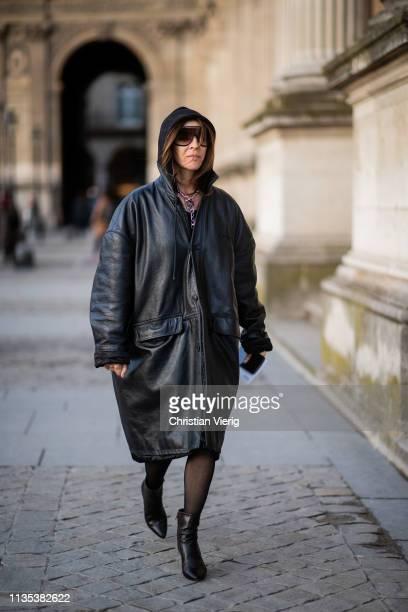 Carine Roitfeld is seen wearing black leather coat outside Louis Vuitton during Paris Fashion Week Womenswear Fall/Winter 2019/2020 on March 05 2019...