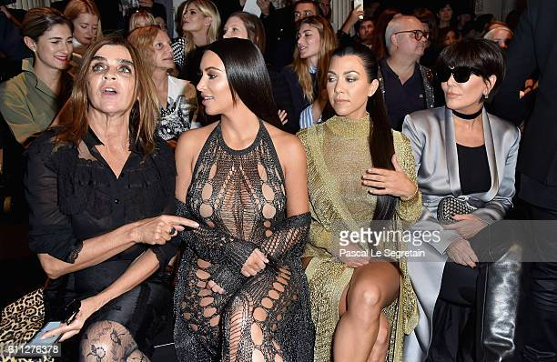 Carine Roitfeld Kim Kardashian Kourtney Kardashian and Kris Jenner attend the Balmain show as part of the Paris Fashion Week Womenswear Spring/Summer...
