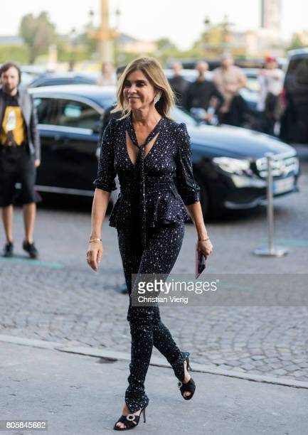 Carine Roitfeld outside Miu Miu Cruise Collection during Paris Fashion Week Haute Couture Fall/Winter 20172018 Day One on July 2 2017 in Paris France