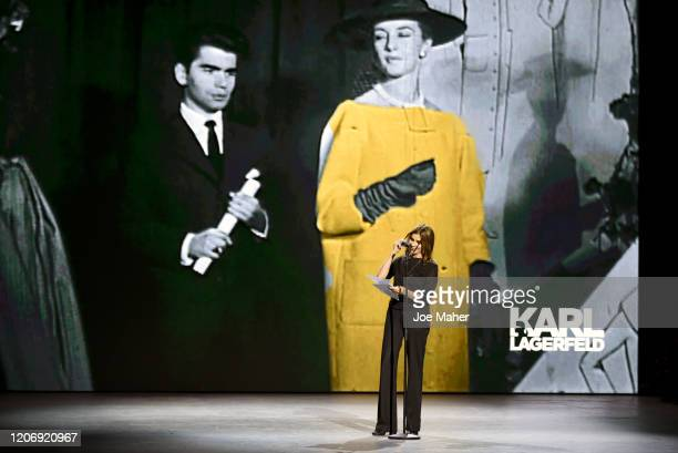 Carine Roitfeld presents the Karl Lagerfeld Innovation Award at the International Woolmark Prize 2020 during London Fashion Week February 2020 at...