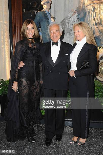 Carine Roitfeld Ralph Lauren and Ricky Lauren arrive to the Ralph Lauren dinner to celebrate the opening of the flagship on April 14 2010 in Paris...