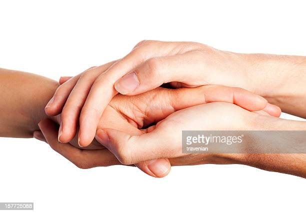 Caring comforting hands on white