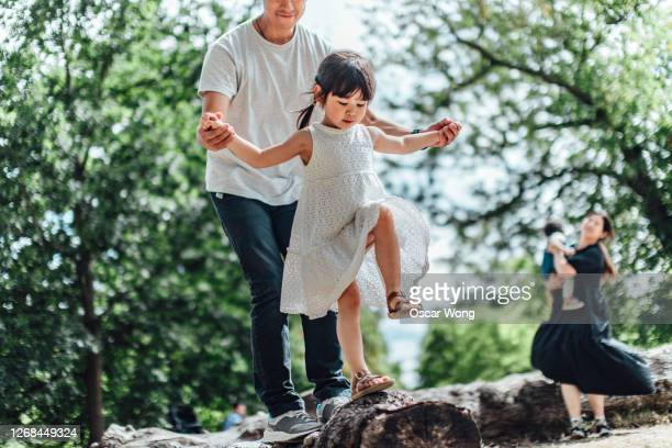 caring young asian father holding hands of his little daughter and assisting her to walk along a tree trunk outdoor on a sunny day - genderblend stock-fotos und bilder