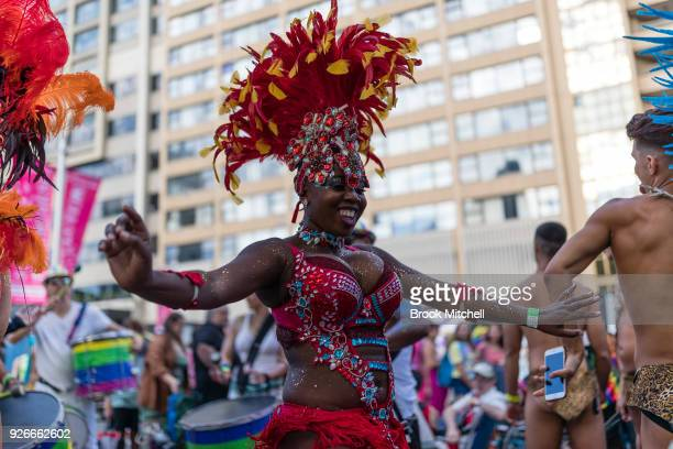 Carinval dance on Oxford Street before the start of the 2018 Sydney Gay Lesbian Mardi Gras Parade on March 3 2018 in Sydney Australia The Sydney...