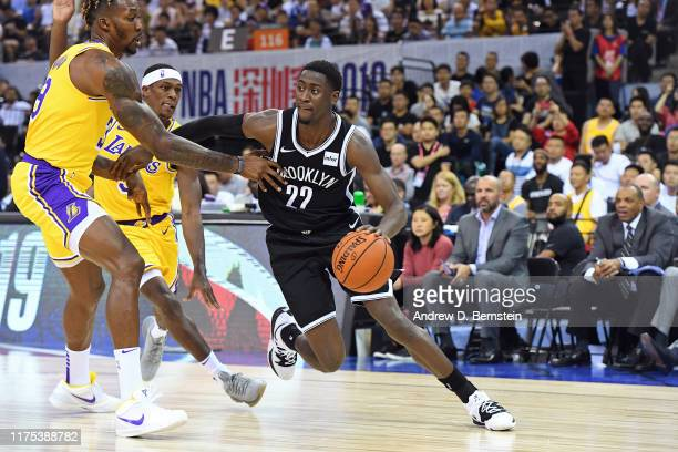 Caris Levert of the Brooklyn Nets drives to the basket against the Los Angeles Lakers during a preseason game as part of 2019 NBA Global Games China...