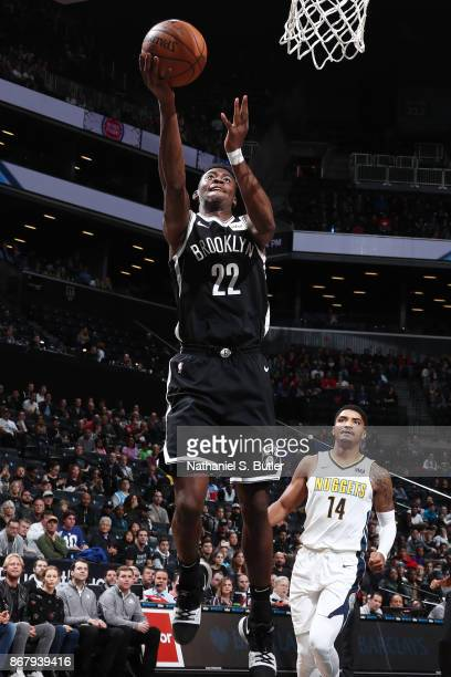 Caris LeVert of the Brooklyn Nets drives to the basket against the Denver Nuggets on October 29 2017 at Barclays Center in Brooklyn New York NOTE TO...