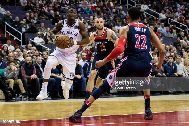 Caris LeVert of the Brooklyn Nets drives to the basket during the game between the Washington Wizards and the Brooklyn Nets at Capital One Arena on...