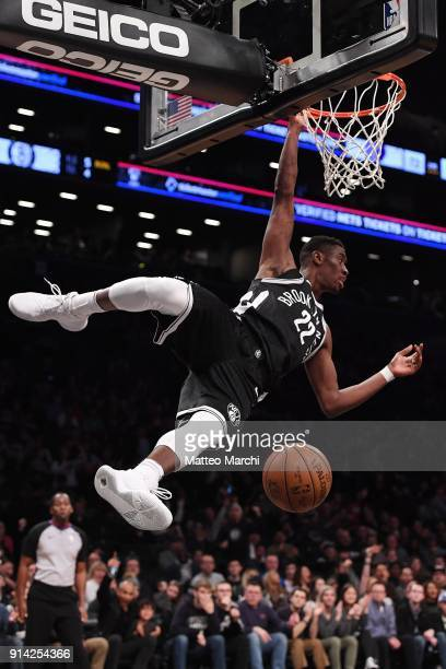 Caris LeVert of the Brooklyn Nets dunks the ball against the Milwaukee Bucks during the game at Barclays Center on February 4 2018 in the Brooklyn...