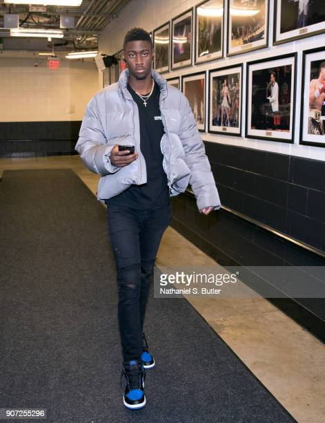 Caris LeVert of the Brooklyn Nets enters the arena before the game against the Miami Heat on January 19 2018 at Barclays Center in Brooklyn New York...