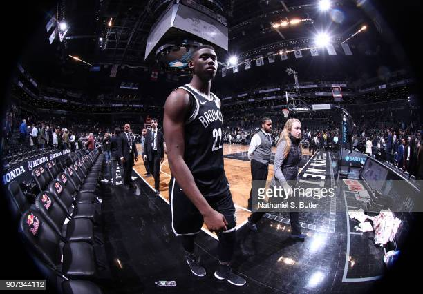 Caris LeVert of the Brooklyn Nets exits off the court after the game against the Miami Heat on January 19 2018 at Barclays Center in Brooklyn New...