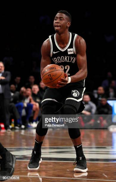 Caris LeVert of the Brooklyn Nets gets set to shoot in an NBA basketball game against the Detroit Pistons on January 10 2018 at Barclays Center in...