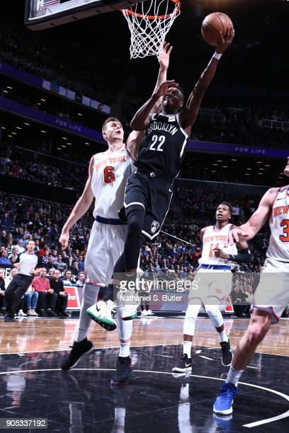 Caris LeVert of the Brooklyn Nets goes to the basket against the New York Knicks on January 15 2018 at Barclays Center in Brooklyn New York NOTE TO...
