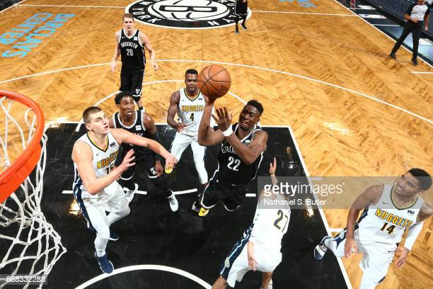 Caris LeVert of the Brooklyn Nets goes to the basket against the Denver Nuggets on October 29 2017 at Barclays Center in Brooklyn New York NOTE TO...