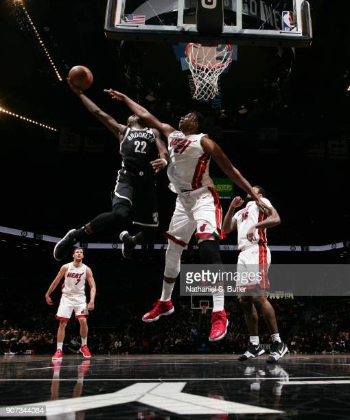 Caris LeVert of the Brooklyn Nets goes to the basket against the Miami Heat on January 19 2018 at Barclays Center in Brooklyn New York NOTE TO USER...