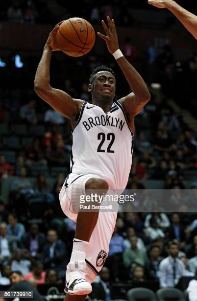 Caris LeVert of the Brooklyn Nets goes up for a layup during a preseason NBA basketball game against the Philadelphia 76ers on October 11 2017 at...