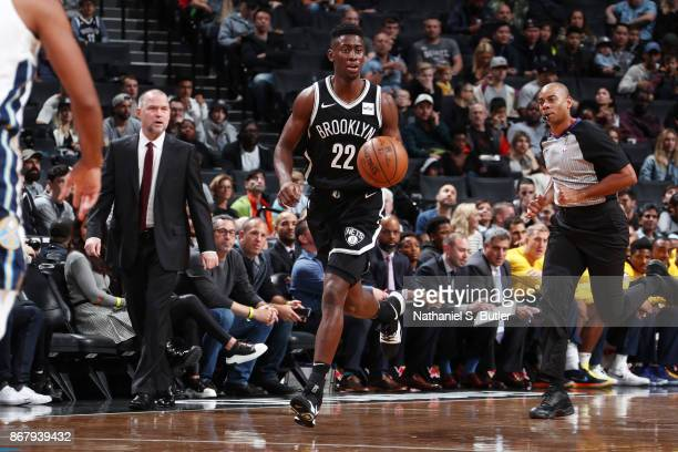 Caris LeVert of the Brooklyn Nets handles the ball against the Denver Nuggets on October 29 2017 at Barclays Center in Brooklyn New York NOTE TO USER...