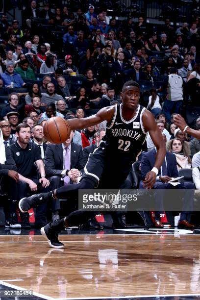 Caris LeVert of the Brooklyn Nets handles the ball against the Miami Heat on January 19 2018 at Barclays Center in Brooklyn New York NOTE TO USER...