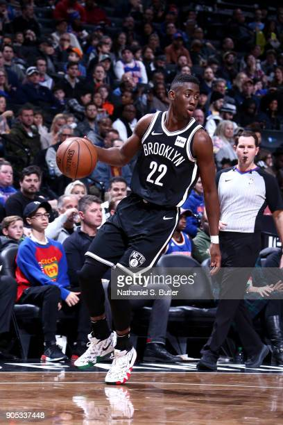 Caris LeVert of the Brooklyn Nets handles the ball against the New York Knicks on January 15 2018 at Barclays Center in Brooklyn New York NOTE TO...