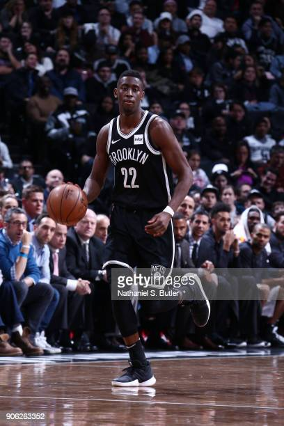 Caris LeVert of the Brooklyn Nets handles the ball during the game against the San Antonio Spurs on January 17 2018 at Barclays Center in Brooklyn...