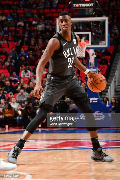 Caris LeVert of the Brooklyn Nets handles the ball during the game against the Detroit Pistons on January 21 2018 at the Little Caesars Arena in...