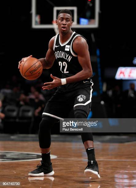 Caris LeVert of the Brooklyn Nets looks to make a move in an NBA basketball game against the Detroit Pistons on January 10 2018 at Barclays Center in...