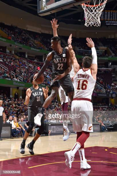 Caris LeVert of the Brooklyn Nets pass the ball against the Cleveland Cavaliers on October 24 2018 at Quicken Loans Arena in Cleveland Ohio NOTE TO...