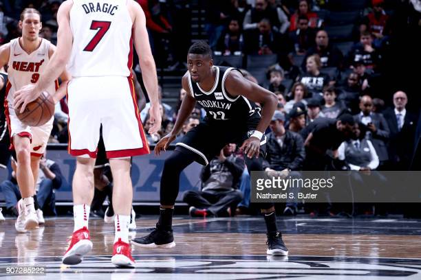 Caris LeVert of the Brooklyn Nets plays defense against the Miami Heat on January 19 2018 at Barclays Center in Brooklyn New York NOTE TO USER User...