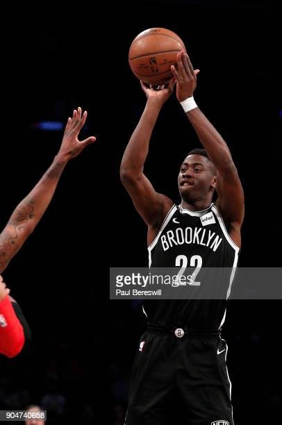 Caris LeVert of the Brooklyn Nets shoots in an NBA basketball game against the Detroit Pistons on January 10 2018 at Barclays Center in the Brooklyn...