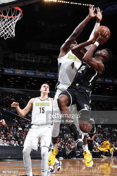 Caris LeVert of the Brooklyn Nets shoots the ball against the Denver Nuggets on October 29 2017 at Barclays Center in Brooklyn New York NOTE TO USER...