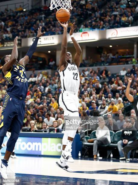 Caris LeVert of the Brooklyn Nets shoots the ball against the Indiana Pacers at Bankers Life Fieldhouse on October 18 2017 in Indianapolis Indiana...