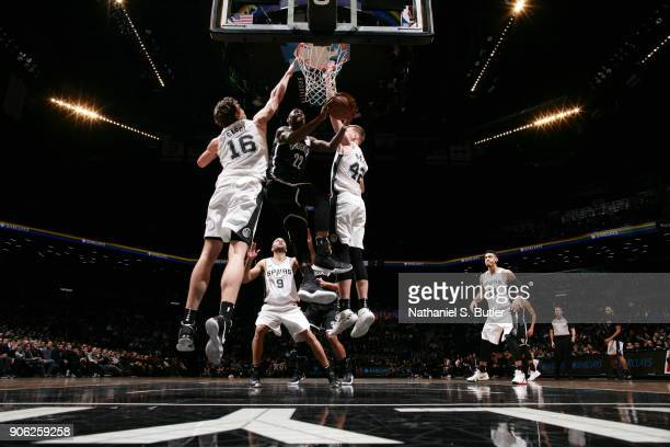 Caris LeVert of the Brooklyn Nets shoots the ball during the game against the San Antonio Spurs on January 17 2018 at Barclays Center in Brooklyn New...