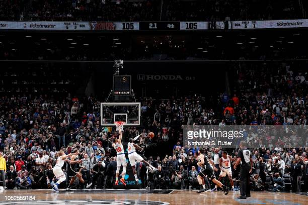 Caris LeVert of the Brooklyn Nets shoots the game winner late in the fourth quarter against the New York Knicks on October 19 2018 at Barclays Center...