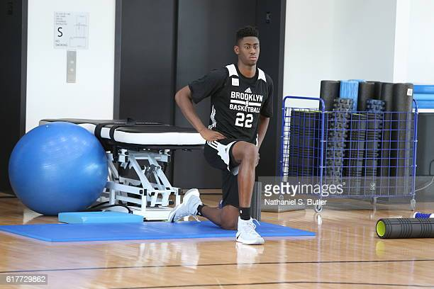 Caris LeVert of the Brooklyn Nets stretches during practice at HSS Training Center on October 19 2016 in Brooklyn New York NOTE TO USER User...