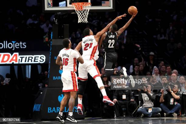 Caris LeVert of the Brooklyn Nets takes a shot against Hassan Whiteside of the Miami Heat in the third quarter during their game at Barclays Center...
