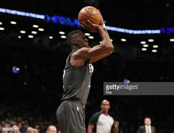 Caris LeVert of the Brooklyn Nets takes a shot in the second quarter against the New York Knicks at the Barclays Center on December 14 2017 in the...